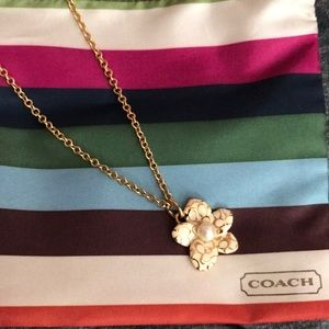 Coach flower gold necklace